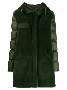 Mr & Mrs Italy contrast hooded down coat - Green