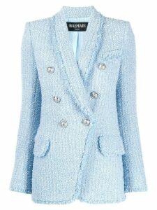 Balmain textured buttoned blazer - Blue