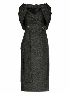Prada cape-effect tweed midi dress - Black
