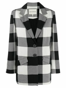Mara Hoffman check button-down blazer - Black