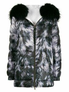 Mr & Mrs Italy zipped fur print coat - White