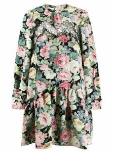 Vivetta lace insert floral print dress - Black