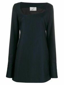 Coperni asymmetric neck pinstripe dress - Blue