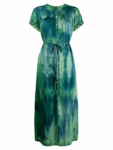 Raquel Allegra tie-dye side slit maxi dress - Green