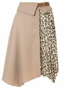 Guild Prime leopard print-panelled skirt - Brown