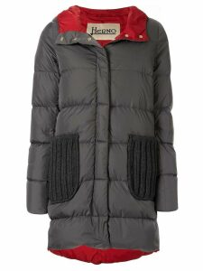 Herno knitted detail padded coat - Grey