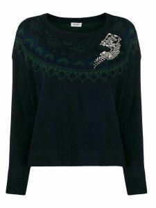 LIU JO embellished brooche detail jumper - Blue