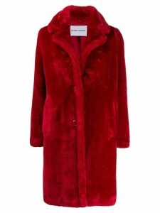STAND STUDIO oversized faux-fur coat - Red