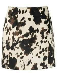 Alexa Chung cow print fitted skirt - Brown