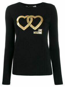 Love Moschino metallic double-heart logo T-shirt - Black