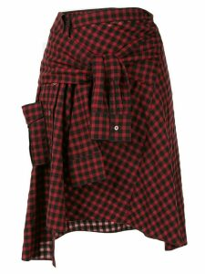 PortsPURE checked tied sleeves skirt - Red