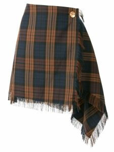 PortsPURE checked asymmetric skirt - Brown