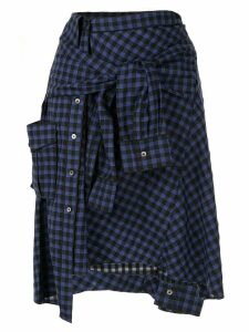 PortsPURE checked tied sleeves skirt - Blue