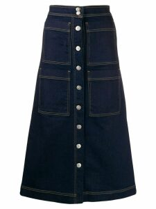 3x1 multi-pocket flared denim skirt - Blue