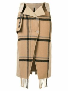 Unravel Project check scarf buttoned skirt - Brown