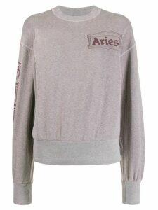 Aries column logo crew-neck sweatshirt - Pink