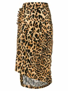 Paco Rabanne ruched wrap skirt - Brown