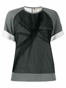 Nº21 tulle layered T-shirt - Grey