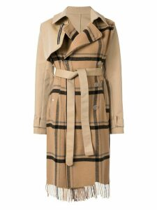 Unravel Project check scarf trench coat - Brown