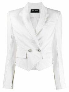 Balmain double-breasted cropped blazer - White