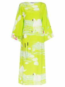 Bernadette Lily swan-print silk midi dress - Green