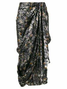 Isabel Marant asymmetric skirt geometric print - Black
