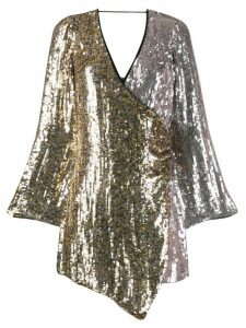 Pinko two-tone sequin wrap dress - Silver