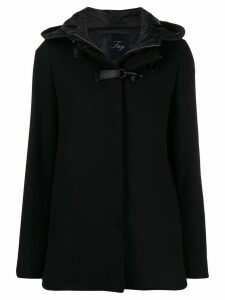 Fay layered toggle cropped parka - Black
