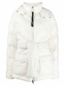 Pinko tie-waist padded coat - White