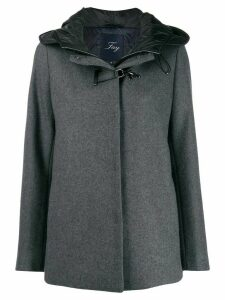 Fay buckle fastened hooded coat - Grey
