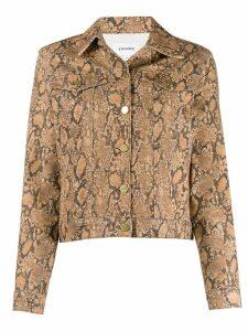 FRAME snakeskin-effect fitted jacket - Neutrals