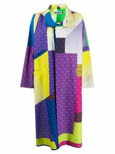 Issey Miyake oversized color-block coat - Purple