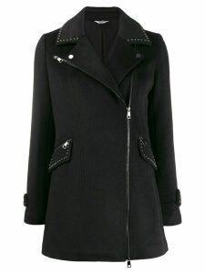 LIU JO stud-embellished collared coat - Black