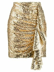 In The Mood For Love ruched sequin skirt - Gold