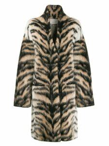 Laneus tiger stripe cardi-coat - Neutrals