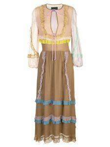 Cynthia Rowley edie mini ruffle trim maxi dress - SNDCB - Sand Combo