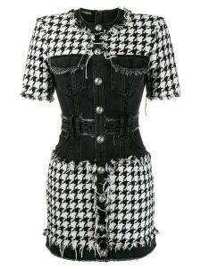 Balmain houndstooth tweed and denim dress - Black