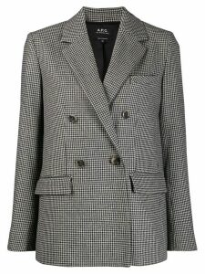 A.P.C. double-breasted checked blazer - Black