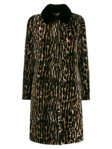 Yves Salomon button up leopard print coat - NEUTRALS