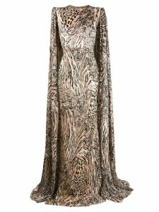 Alex Perry leopard print cape sleeve gown - Neutrals
