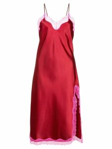 Callipygian neon pink lace slip dress - Red