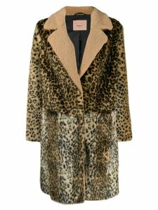 Twin-Set leopard pattern coat - Brown