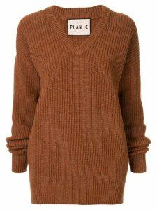 Plan C longline chunky knit jumper - Brown