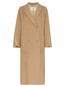 Fendi zip-detailed double-breasted coat - Brown