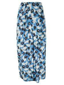 Christian Wijnants foliage-print silk skirt - Blue