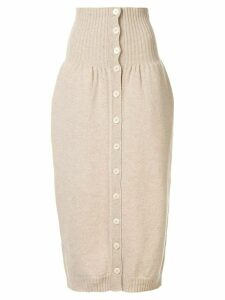 Lemaire high waisted knitted skirt - Brown