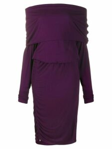 Roberto Cavalli ruched style off-shoulder dress - Purple