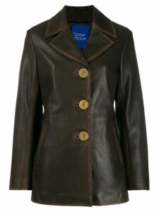 Simon Miller single-breasted leather coat - Brown