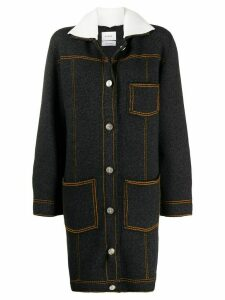 Barrie Sherpa collar cardi-coat - Black