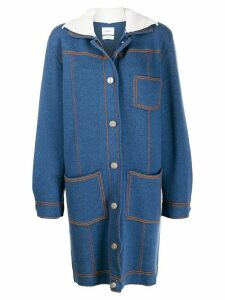 Barrie Sherpa collar cardi-coat - Blue